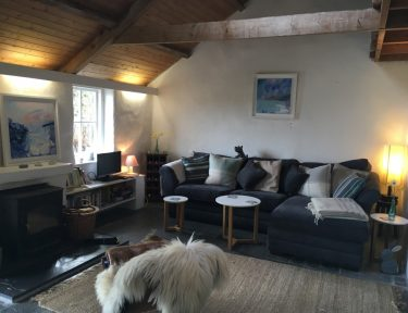 Cornish cottage open plan living room